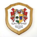 Family Crests Combined Double Coat of Arms 7 inch Shield Plaque PERSONALISED, ref FCODP